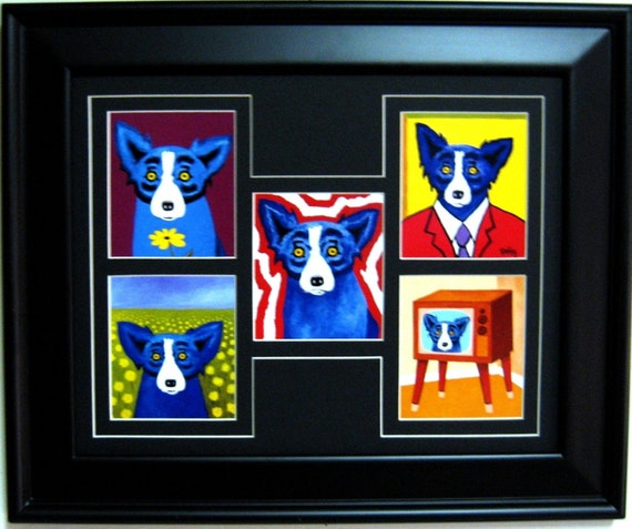George Rodrigue BLUE DOG Note Card Collage WIDE Frame 17.5