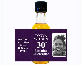 Custom Liquor Mini Bottle Labels Adult Birthday Favors - Personalize with Custom Text, Color, & Image - Womens 30 Birthday Party Celebration