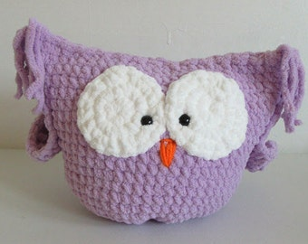 Purple plush owl / pillow