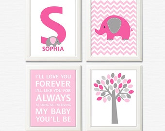 Pink and grey elephant nursery art print - UNFRAMED- baby girl wall art, typography, baby name, initial, bright pink, light pink, deep
