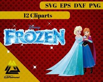 Frozen – 12 (Svg, Eps, Png, Dxf Files) – 300 PPI – Vectorial Images – Frozen svg – T-Shirt Design - Elsa - Anna - Olaf - Princess - Gift