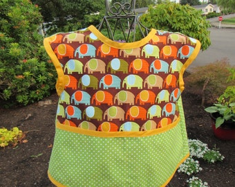 Colorful Parading Elephants Print on Child's Smock Apron