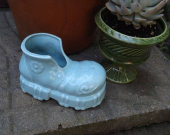 Vintage Blue Shoe Planter/Planters and Pots/Home and Living/Home and Garden/Mid Century Planter/Indoor Planter/Succulent Planter