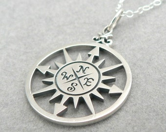 Compass Rose Sterling Silver Charm Necklace Nautical Pendant Jewelry