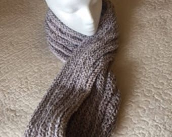 Hand knit light tan and cream cowl S118
