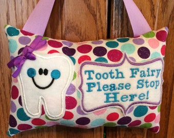 Large Polka Dots Personalized  Tooth Fairy Pillow