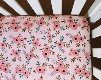 Pink Poppy Floral Crib Sheet