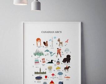 Canada Wall Art, Canada ABC Printable, Alphabet Wall Art, Canada Nursery Print, ABC Wall Art, Alphabet Poster, Canada Decor, Canada Poster