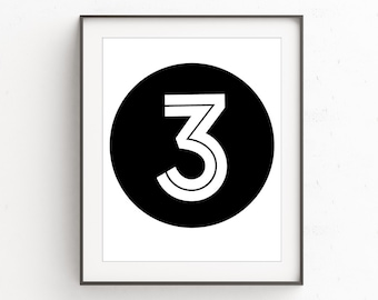 Three Prints, Numbers Print, Nursery Decor, Playroom Printable, #3, Number 3, Nursery Printable, Nursery Numbers, Numbers Decor, Wall Print