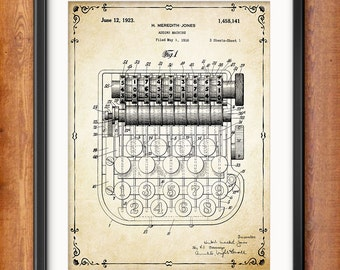Accountant Gift - Adding Machine Patent Print - Accounting - Book Keeping - Office Decor Wall Art Mathematical Calculation Instrument - 1353