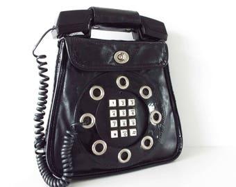 Original Vintage 1970's Dallas Telephone Handbag Purse Black Patent Novelty Handbag Lady GaGa