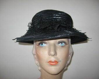 1930's-40's Black Straw Boater Hat, Gage Label!