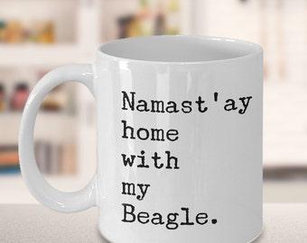 Namast'ay Home With My Beagle Mug Herbal Tea & Coffee Ceramic Coffee Cup Beagle Gift