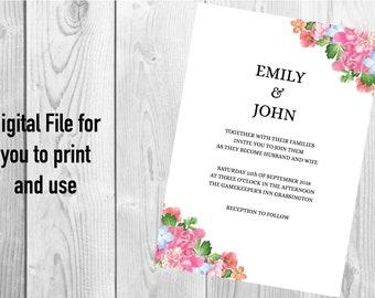 Watercolour Floral Wedding Invitation