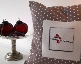 Pillow Winter berries Cross stitch