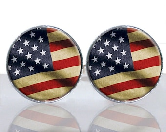 Vintage American Flag Round Glass Tile Cuff Links CIR170
