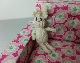 Modern Miniature Dollhouse Knitted Rabbit 1:12 Scale