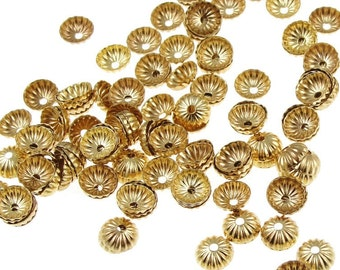 144 5mm Gold Bead Caps Small Gold Plated Pleated Dome Gold Beadcaps Gold Beads Jewelry Findings Jewelry Supplies for Gold Jewelry  (FS60)