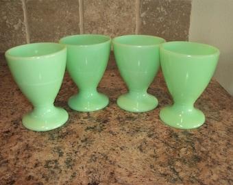 Set of 4 McKee Jadite Jadeite Egg Cups Pedestal Juice Tumblers