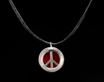 Peace sign, peace, handmade stained glass peace sign necklace pendant, red peace sign rear view mirror charm, handmade jewelry charm