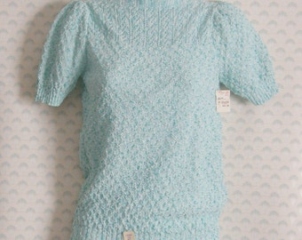 1980s teal short sleeved, scallop neck knit sweater new old stock