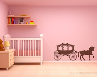 Girls Fairytale Horse and Carriage Vinyl Wall Art removable sticker decal kids children play room bedroom fantasy princess prince fairytale