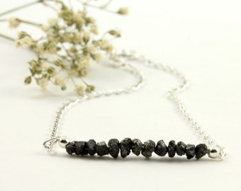 Rough Diamond Bracelet on Silver - Black Raw Diamonds Uncut, Unfinished - Bridesmaids - April Birthstone