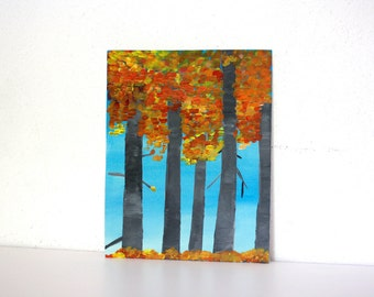 autumn forest, falling leaves,autumn  painting, forest painting, fall painting, nature painting , seasonal painting, seasons