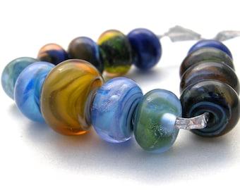 handmade lampwork beads, 13 lampwork bead set