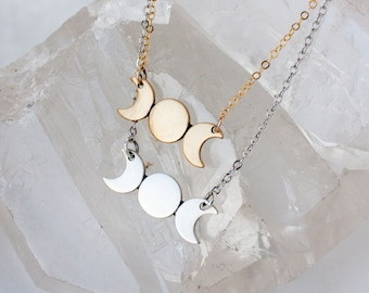 Triple Goddess Moon Phase Necklace, Moon Necklace, Moon Phase Jewelry, Triple Goddess, Moon Phase Necklace, Moon Choker, Gold Triple Goddess