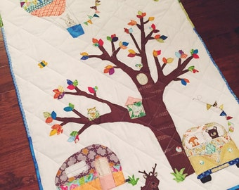 Woodland Animal Baby Quilt with camper and VW Bus