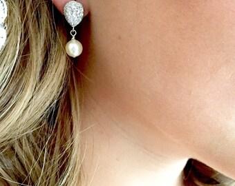 Pearl Bridal Earrings, 8mm Simple earrings, Pearl wedding earrings, pearl bridesmaid earrings, classic bridal earrings, pearl jewelry