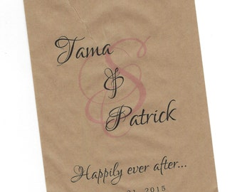 Happily ever after Wedding Personalized Party Favor Brown Kraft Bags