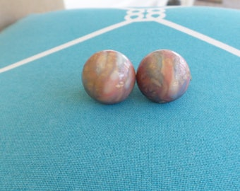 Round Plastic Marble Clip On Earrings