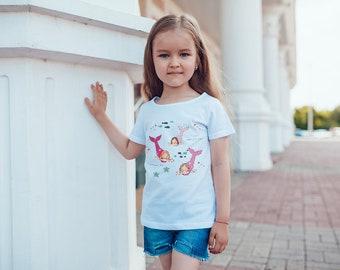 Mermaids Short sleeve kids t-shirt (gifts for girls, toddler, tee, ocean, mermaid, girl, cute, swim, water, fun, wave, sea, fantasy, party)