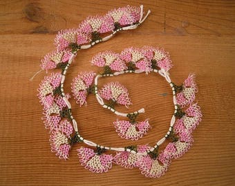 needle lace flowers, turkish oya, pink white, 20 pieces