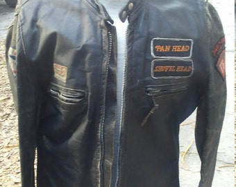 Original 1960s Leather Brooks Leather Biker Harley Davidson jacket