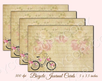 Instant Download - Bicycle Journal Cards - High quality - Printable Download  -  Romantic French - Scrapbook Journal Recipe Paper