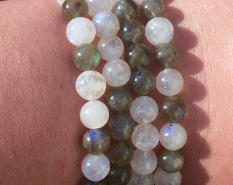 Moonstone and Labradorite Mix Bracelet