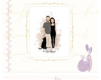 Custom Couple Portrait Valentine Personalized Portrait Bespoke Couple Illustration Bride Groom Illustration Anniversary Gift Digital File