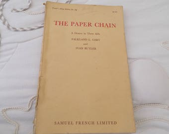 Vintage 1950s Drama Play Book: The Paper Chain Drama in Three Acts FREE SHIPPING