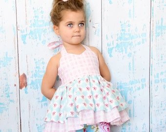 SALE...Buy 2 get 1 Free...Instant Download PDF sewing Pattern Allison Dress Double Ruffle Halter Top Tutorial, 6-12 M to 8