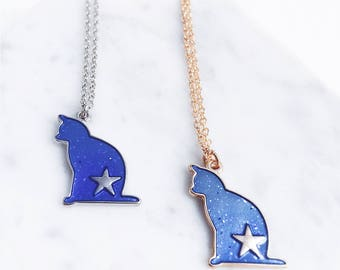 Galaxy cat necklace; space cat; cat necklace; star necklace; cat accessories;