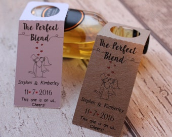 Personalised ALCOHOL Wedding Favour bottle tags for miniature bottles