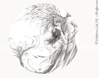 Miroir de poche thème féerique - Les amants du Pays d'Eire - Illustration Delphine GACHE