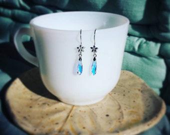 Shimmering Sterling Silver Flower with Dew Drop Swarovski Crystal Earrings