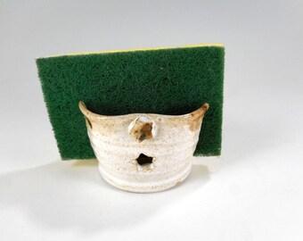 Ceramic sponge holder, pottery sponge keeper, white stoneware sponge caddy, pottery sponge holder, kitchen bathroom sponge holder with stars