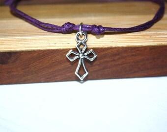 Cross Bracelet or Anklet, Silhouette, Open Cross Charm, Christian Gift, Religious Gift, Baptism Gift, Confirmation Gift