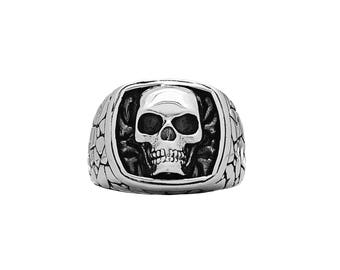 Skull Signet Ring with Stone Texture