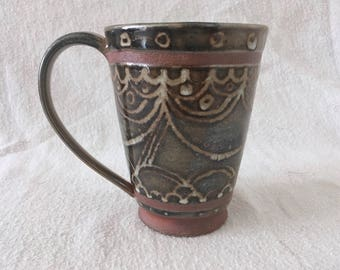 Shimmery Geometric Ceramic Mug // Ceramic Coffee Mug // Handmade Set of Mugs // Ceramic Set of Mugs